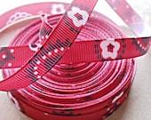 "Red Bandana print on 3/8"" grosgrain ribbon"
