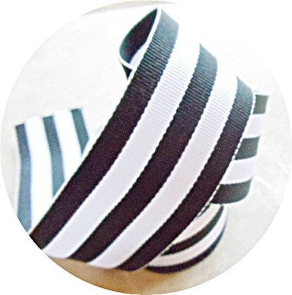 "Classic Black and white striped 1.5""  grosgrain ribbon"