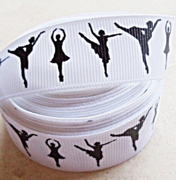 "Plie Ballerinas on white 7/8"" grosgrain ribbon"