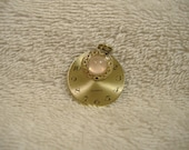 Steampunk Dial Pendant with Pink Stone. Original Design.