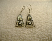 Vintage 1970s Triangle Inlaid Earrings.