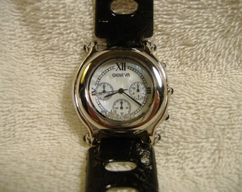 Vintage 1980s Geneva Mother Of Pearl Watch.