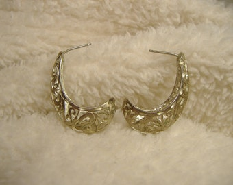 Vintage 1960s Sterling Silver Ornate Earrings