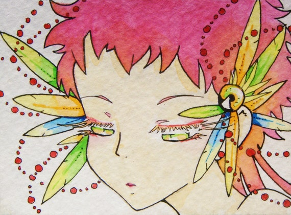 Sherbert and Feathers a Bright Pink Color Fantasy Parrot Girl Watercolor ACEO Gloss Print