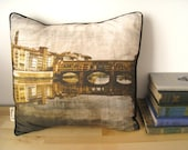 Vintage Style Italian Pillow -Ponte Vecchio, Florence - Handmade One of a Kind Fabric From Original Photographic Print