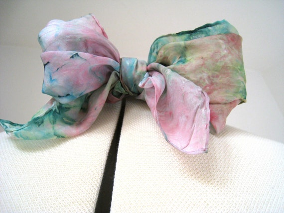 Vintage Silk Scarf - Spring Watercolor - Pastel Greens, Aqua, Pinks - Wonderfly Light and Airy