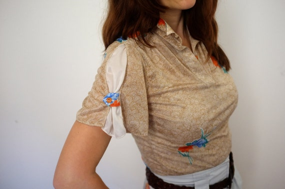 Early 80s summer shirt - Gathered flutter sleeves