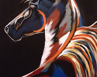 Moonlight Walker - Nighttime Horse Painting -