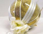 RESERVED---Gold Christmas Ornament with Acrylic charm and white roses custom holiday Glass Ball Decoration