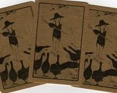 Vintage Single Swap Playing Cards- (2) Linen Scrapbook Supplies Paper Ephemera