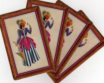 Vintage Playing Cards (2) Single Swap Paper Ephemera Scrapbook