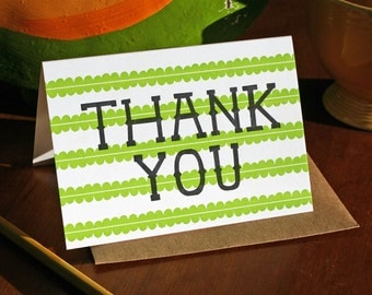Scalloped Thank You / Letterpress Printed Card