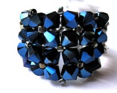 "Swarovski Crystal Stretch Ring ""Metallic Blue"""