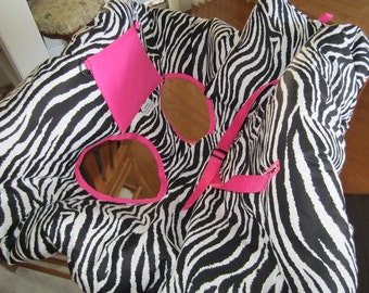 Zebra Print with Bright Pink Shopping Cart Cover and Pillow