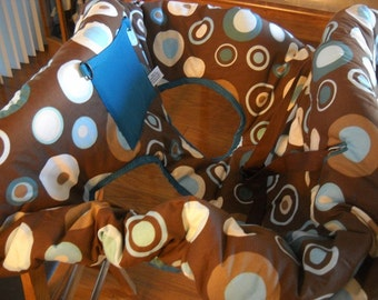 Blue and Teal Circles on Brown Background Print Shopping Cart Cover with Pillow