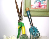 Vintage Gardening Tool Collection  with Green Flower Frog Home and Garden