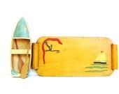 Vintage Wooden Tray Nautical Decor Mid century Anchor Sailboat