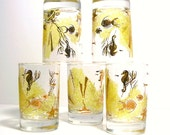 Vintage Mid Century Bar ware Nautical Gold and Yellow Cocktail Glasses Set of 5