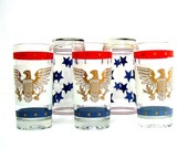 Vintage Drink Glasses Mid century Barware Red White Blue USA Eagle