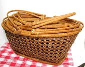 Vintage Nesting Baskets Cane Diamond Weave Set of 5 Home and Garden