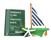 Vintage Nautical Book Green White 1958 Boat Plans