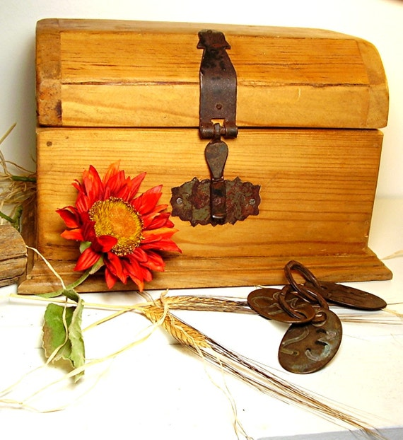 Rustic Wooden Box Pine Plank Treasure Chest Forged Cast Iron Hardware