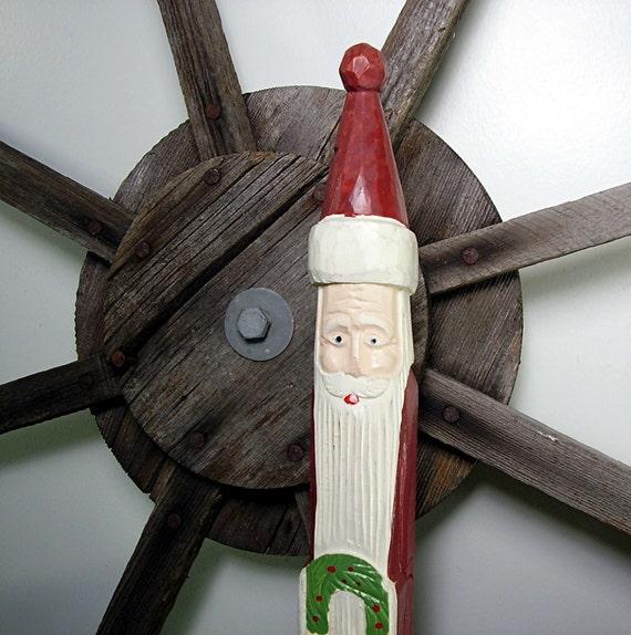 Vintage Santa Figurine Carved Wood Folk Art Christmas 20 in Tall