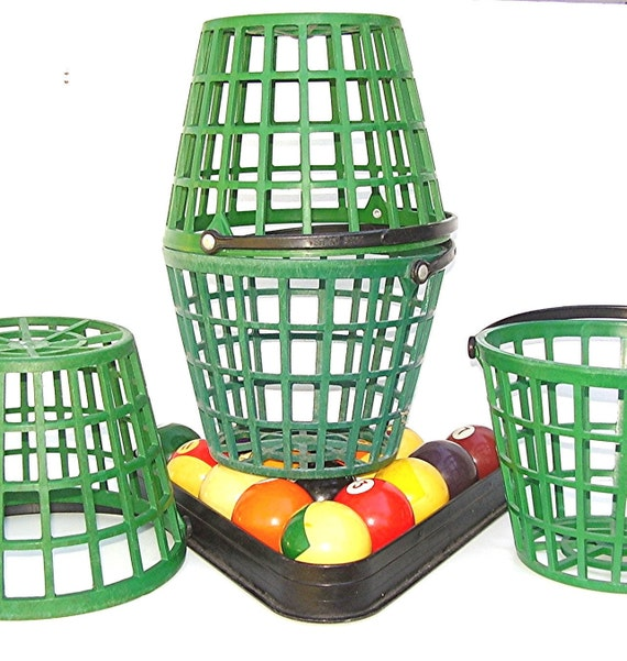 Vintage Golfing Range Buckets Golf Ball Baskets Green Plastic