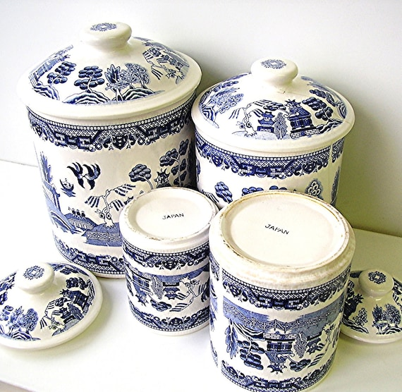 Vintage Blue Willow China Canister Set Blue and White Ironstone Willow ware
