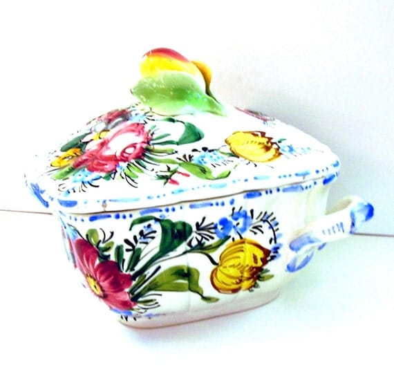 Vintage Italian Tureen Faience 1930s Floral Fruits