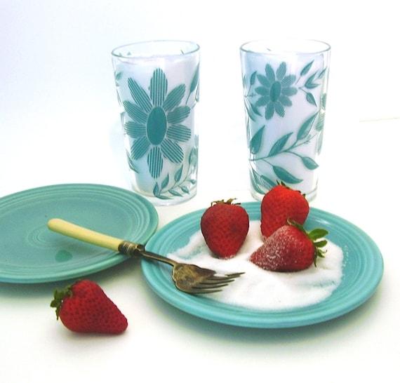 Vintage Drink Glasses 4 Aqua Mid Century Barware Retro KIchen