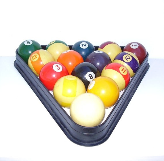 Vintage Billiard Balls Bakelite Pool Table Rack Mid Century Sports Toys Games Gifts for Men
