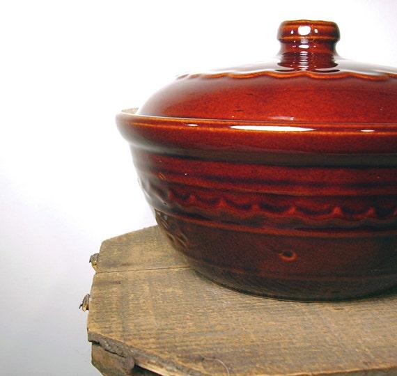 Vintage Marcrest Pottery Brown Daisy Dot  Mid century Kitchen