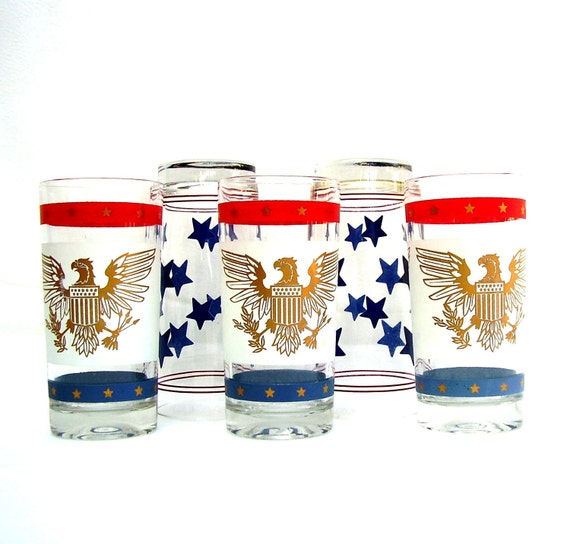 Vintage Drink Glasses Mid century Barware Red White Blue USA Eagle