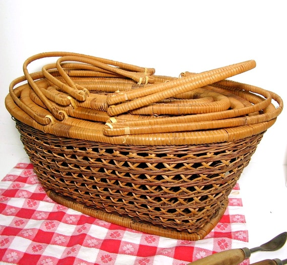 How To Weave A Cane Basket : Vintage nesting baskets cane diamond weave set of home and