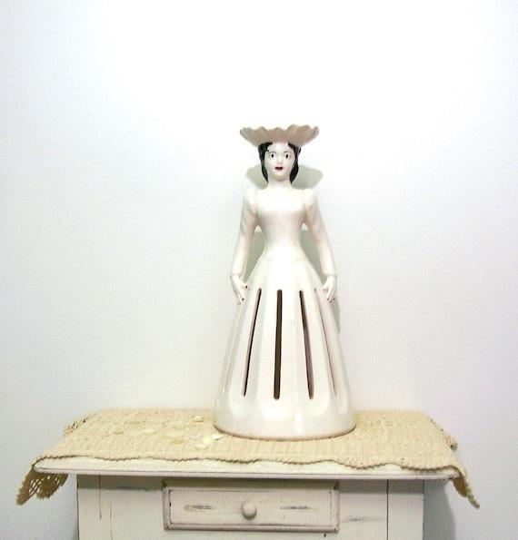 RESERVED Vintage White Statuette Victorian Lady Napkin Holder 1984