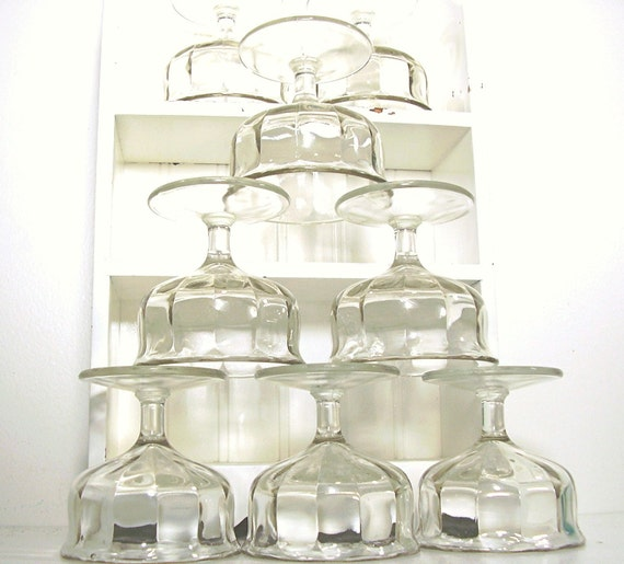Vintage Glass Bowls 8 Footed Compote Sherbert Cups 1930s
