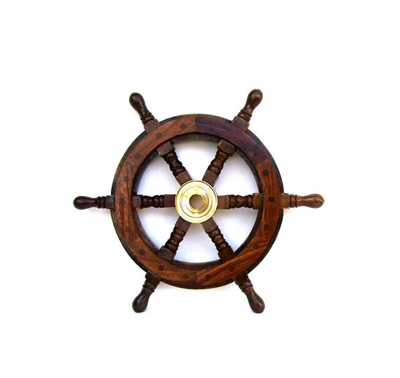 Vintage Ships Wheel Wooden Nautical Maritime Home Decor