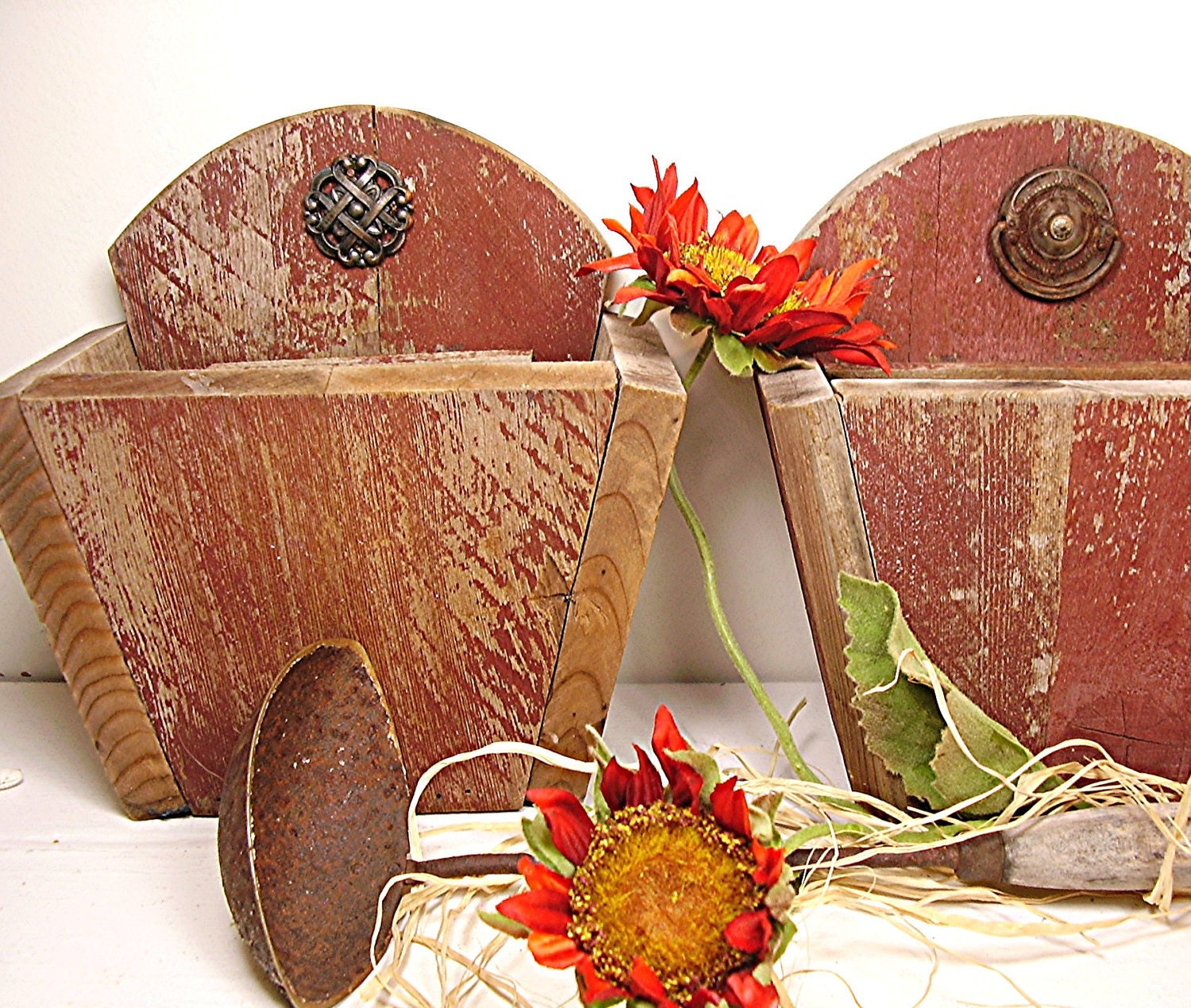 Vintage Wooden Planter Boxes Rustic Red Barn board