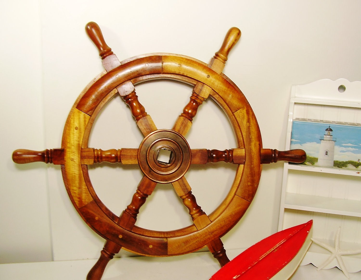 Vintage Ships Wheel Authentic Wooden Boat Steering Wheel