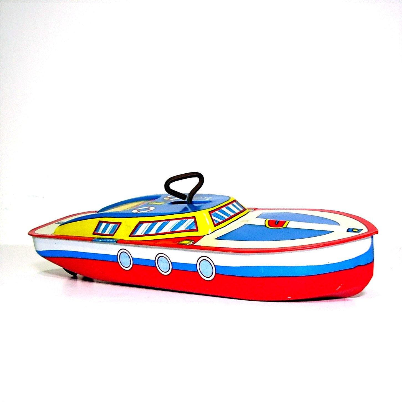 Vintage Toys Speed Boat Tin Litho Ohio Art Co Nautical