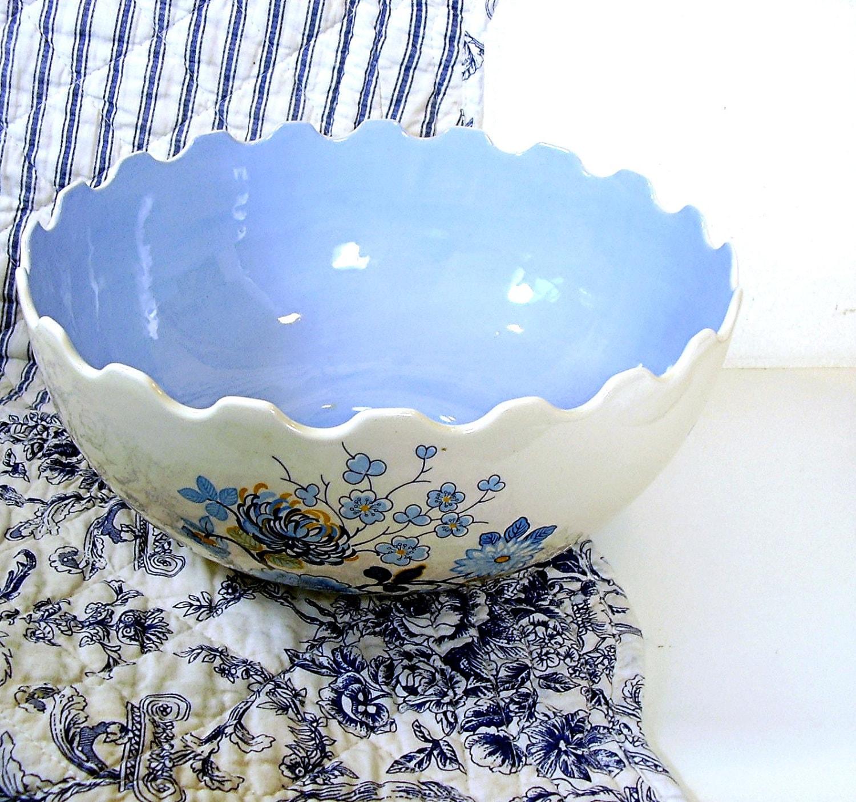 Vintage Kitchen Bowls: Vintage Mixing Bowl White & Blue Kitchen Porcelain Large