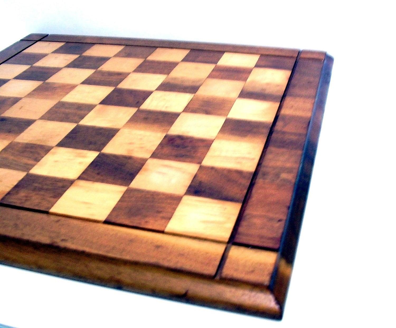 Wooden checker board wooden checkerboard in - Vintage Wooden Checkerboard Checkers Chess Game By