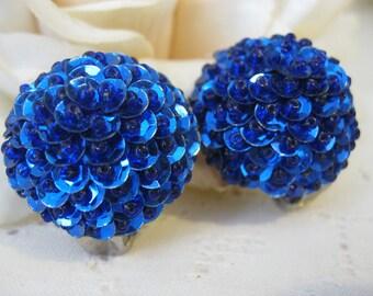 Vintage Royal Blue Sequin Earrings