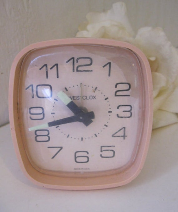 Vintage Pink Wind Up Westclox Alarm Clock