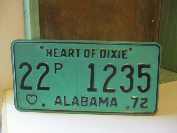 Vintage 1972 Alabama Heart of Dixie License Plate