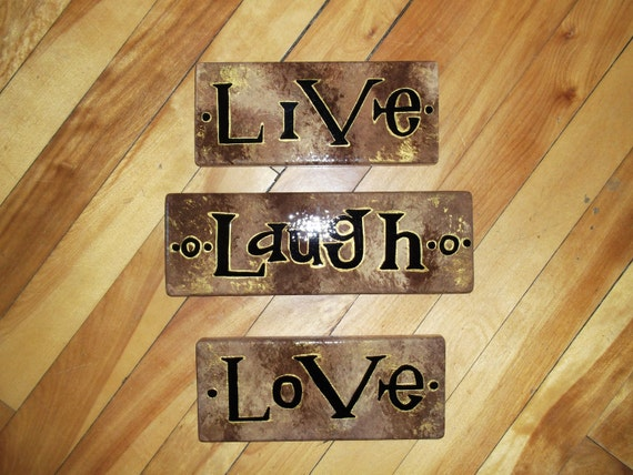 Set of 3 Wall Signs - Live, Laugh, Love