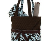 Quilted Damask Print 3pc Diaper Bag - Brown/Blue