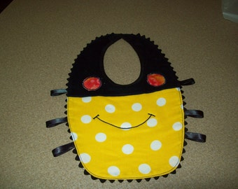 Novelty Bib Black & Yellow Spider for Infant or Toddler, Ready to Ship