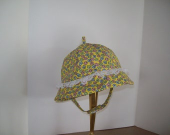 Infant Sunhat, Floral Print on Yellow with Brim & Lace, Infant Sizes